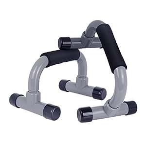 TotalFitness プッシュアップバー 腕立て伏せ 器具 筋トレグッズ 筋肉トレーニング 筋力アップ 滑りにくい 簡単組立式 (グレー)