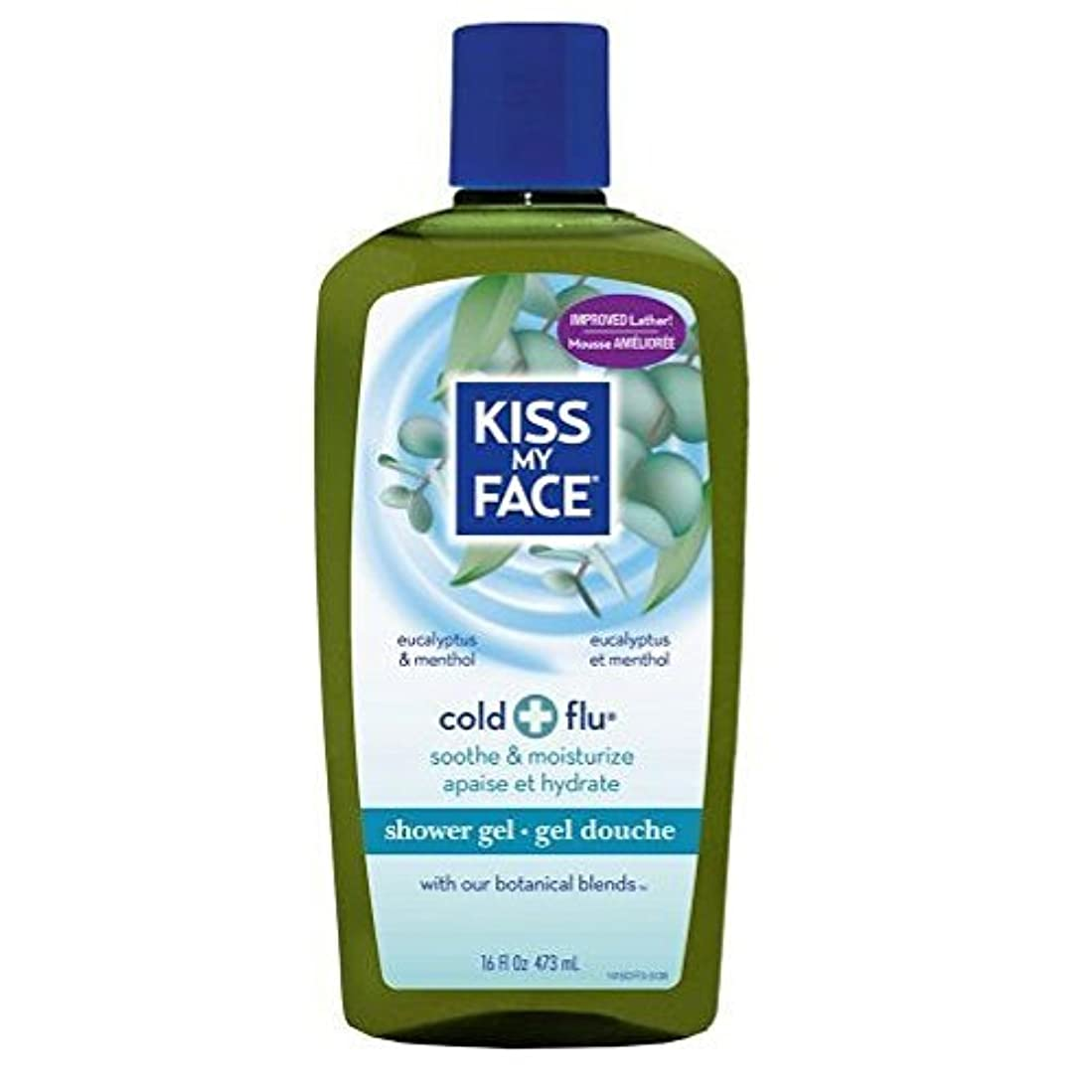 ヒューズ刈り取る脳x Kiss My Face Bath and Shower Gel Cold And Flu Eucalyptus and Menthol - 16 fl oz by Kiss My Face