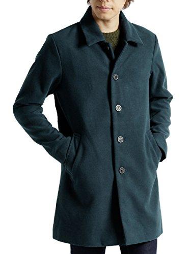 (モノマート) MONO-MART メルトン 起毛 コート チェスターコート ステンカラーコート 暖かい ロング丈 アウター ブルーグリーン【ステンカラー】 Lサイズ