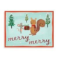 Galisonボックス10のクリスマス装飾付きメッセージカードと封筒–Holiday Forest Friends