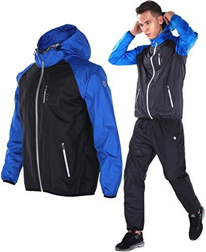 Dripx サウナスーツ 大量発汗 燃焼サポート フード付き 上下セット メンズ (L, ブルー)