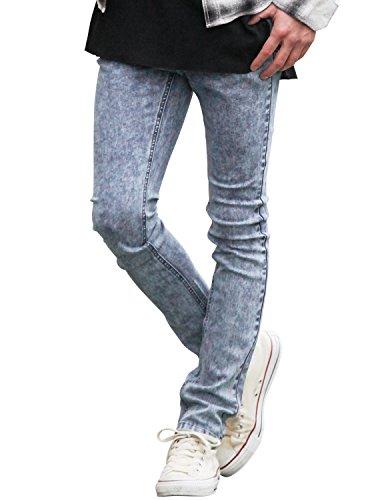 JIGGYS SHOP (ジギーズショップ) スーパーストレッチ スキニー デニムパンツ メンズ ジーパン ジーンズ 美脚 XL ケミカルブルー