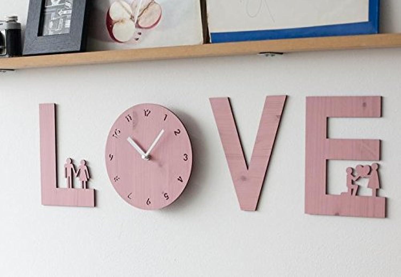 ハンドメイドの壁掛け時計 LOVE IS (ピンク)