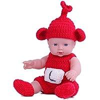 KIDDING 30cmハンドメイドセーター シミュレーション赤ちゃん 入浴人形 ソフトベビー 幼児教育 劇場 子供たち プリンセス 若い女の子 おもちゃ人形 (赤いスカートのセーターストレートヘア少女の人形)