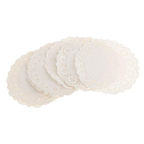 【ノーブランド品】誕生日 パーティーなどに  使い捨て 紙皿 ラウンド 中空 レース ペーパー ドイリー ケーキ 紙 パッド 約100枚 ホワイト