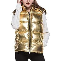 Women Puffer Down Metallic Color Thicken Vest Hood Sleeveless Coat