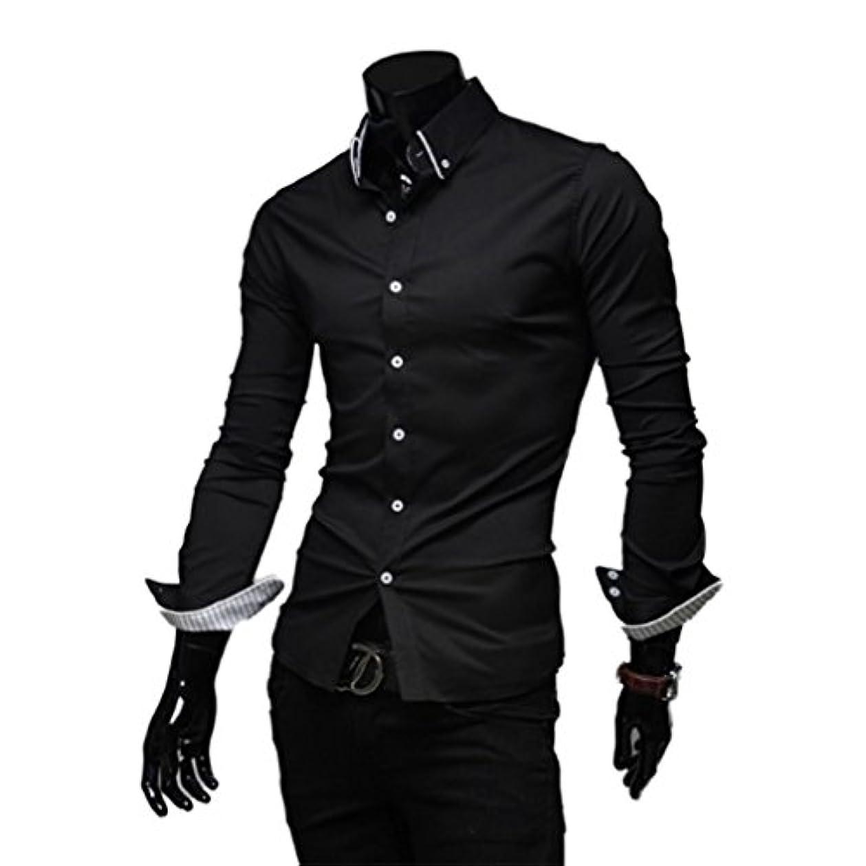意識的友だち案件Honghu メンズ シャツ 長袖 ストライプ裏地付き スリム カジュアル ブラック L 1PC