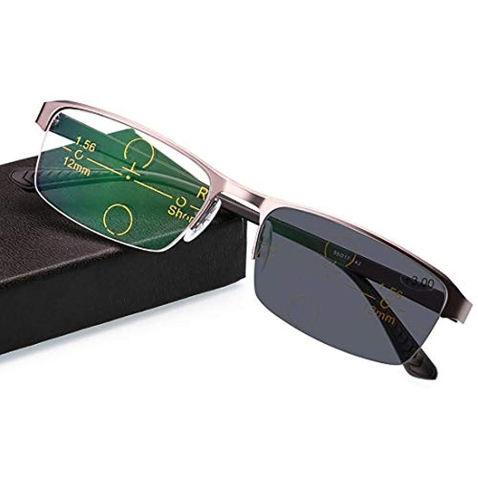 折りたたみ多機能男性老眼鏡、遠近二重光漸近的変色、春ヒンジデザイン、放射線防護、紫外線防御