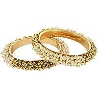 Crunchy Fashion Ethnic Traditional Bollywood Fashion Jewelry Gold Tone Polki Indian Partywear Bangles for Women