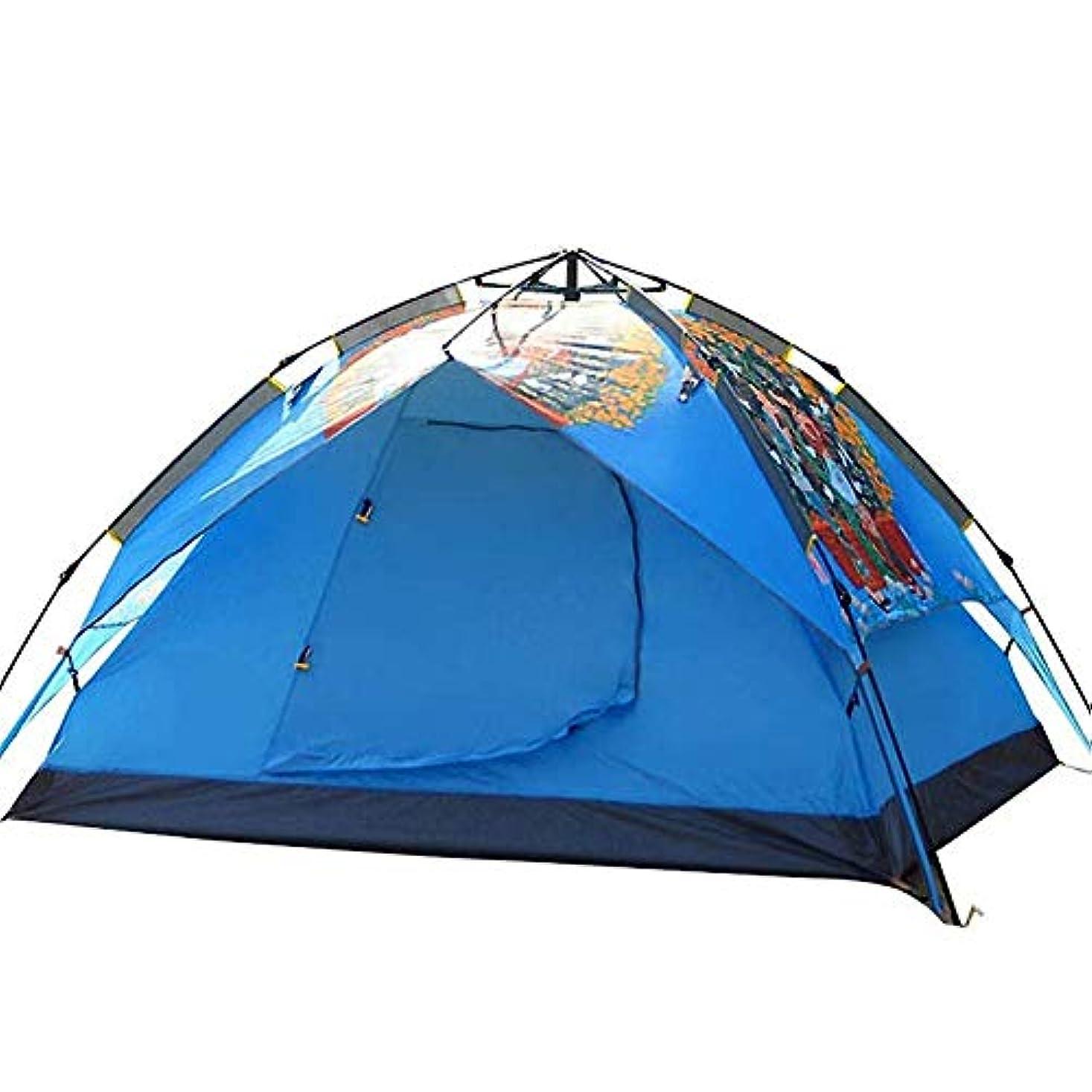 甘やかす意味公キャンプテント、3?4人テントフルカラー印刷観光キャンプビーチで大きな通気孔二重層ポータブル家族キャンプテント