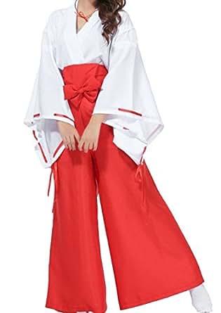 【Youth】巫女さん コスプレ 衣装 8点セット 着付け手順書付き〈 国内正規品 〉 Lサイズ( 165 ~170 cm)S,M,XLサイズあり