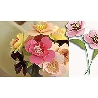 ピンク色の紙の折り紙の花Scrapbookingや工芸DIYキットの5花を花作