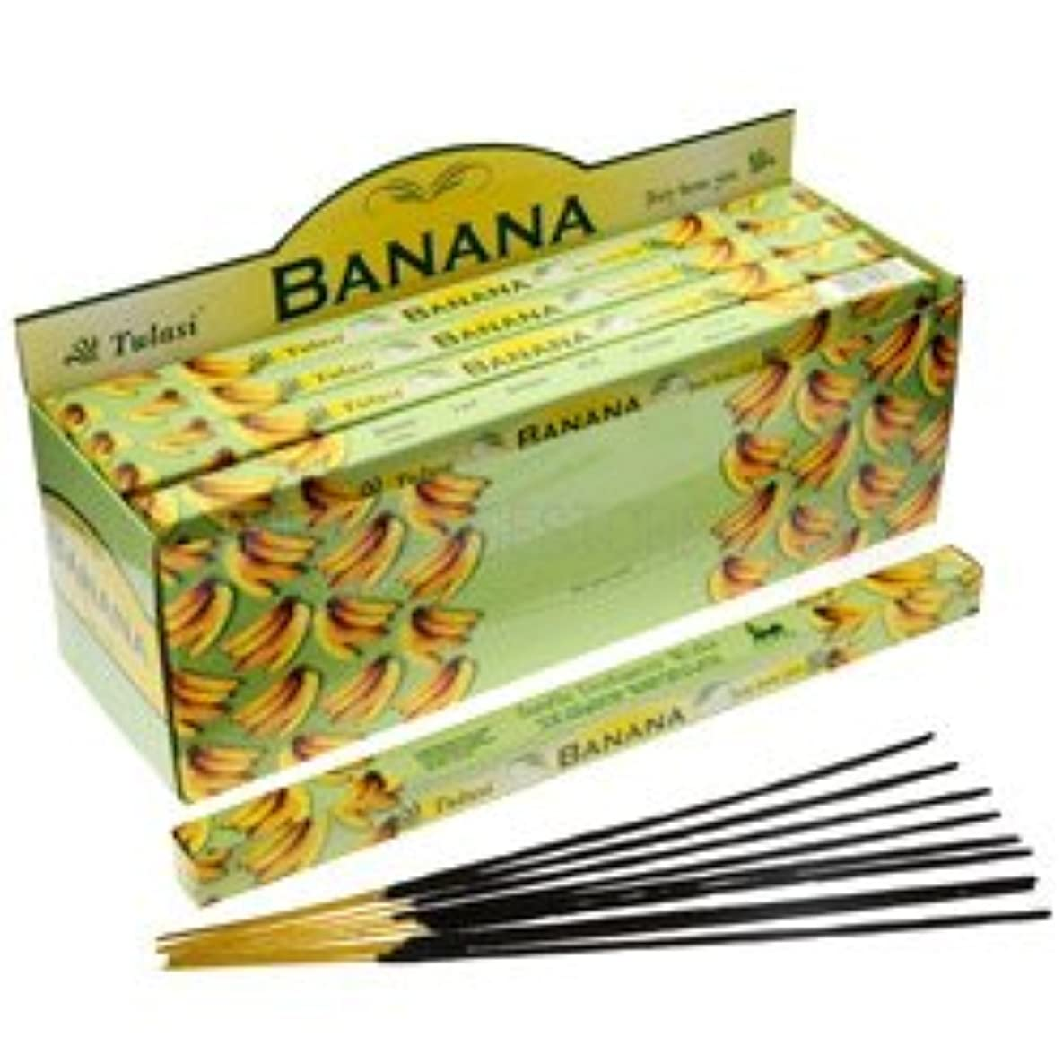 平均ローマ人拡声器Tulasi Banana Incense, 8 Sticks x 25 Packs