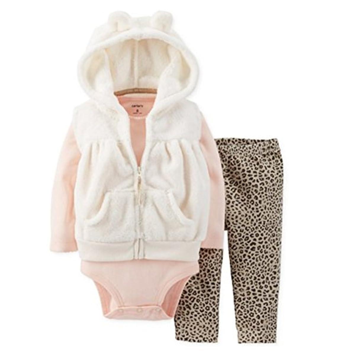いちゃつく幸運なことにしばしばCarters Infant Girls 3 Piece Set PlushホワイトパーカーLeopardレギンス&シャツ