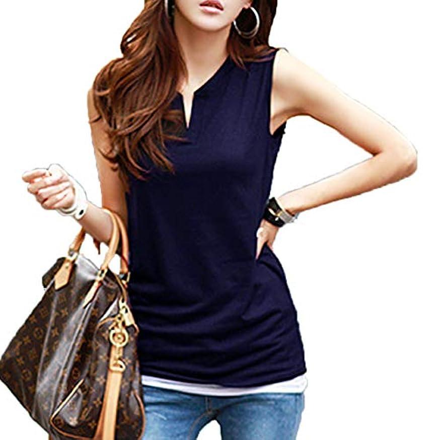 印をつけるヤギ素子[ココチエ] 夏 Tシャツ プルオーバー レディース ブラウス ノースリーブ 半袖 V コットン 白 かっこいい かわいい おしゃれ