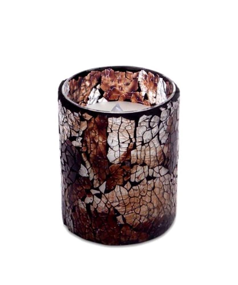 森林マージン残高LEDモザイクFlameless Candle、ブラウンCrackedガラスパターン、3 D」X 4」H