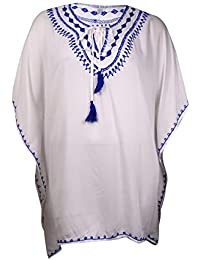 RaviyaレディースPlus Size Embroidered Peasant Tunic cover-up