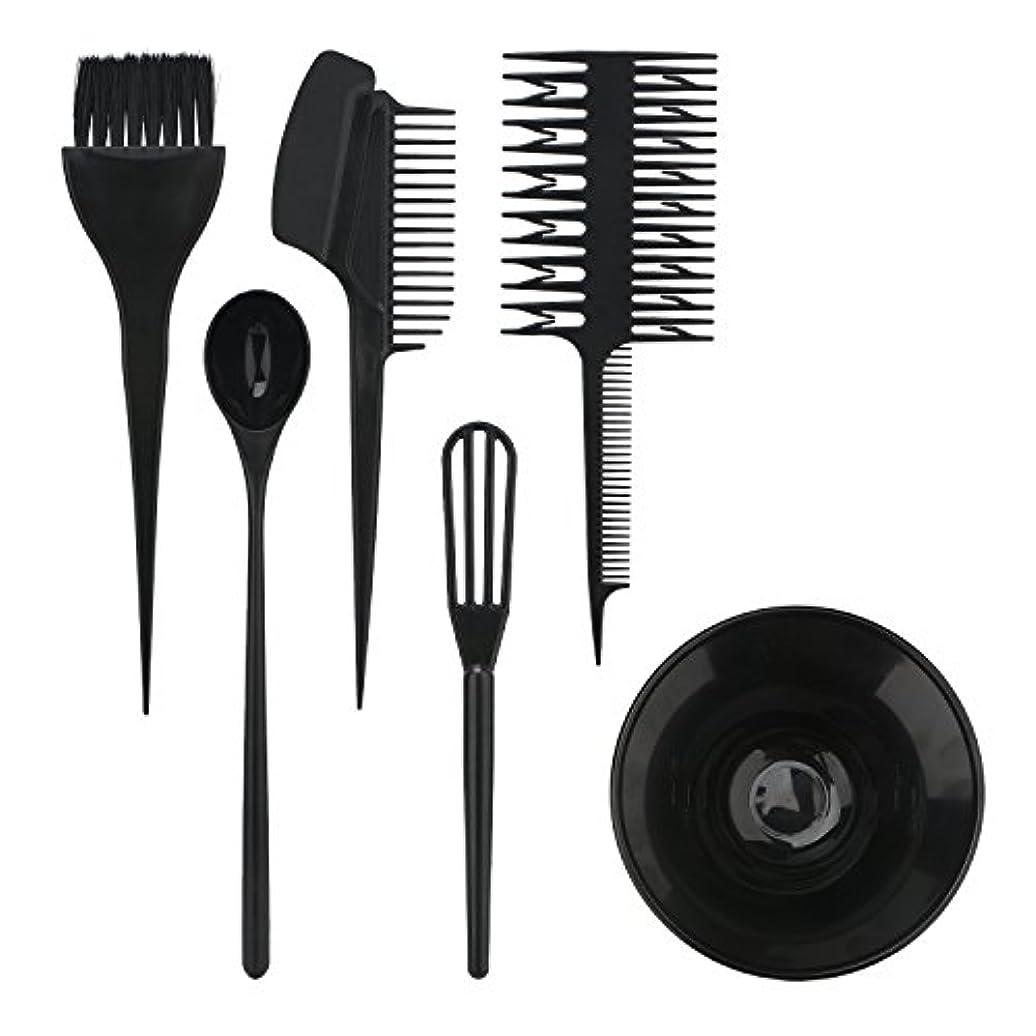 メタルラインスクワイアクリークSegbeauty ヘアカラー用のセット ブラシとボウルの組み合わせ 6pcs DIY髪染め用 サロン 美髪師用 ヘアカラーの用具