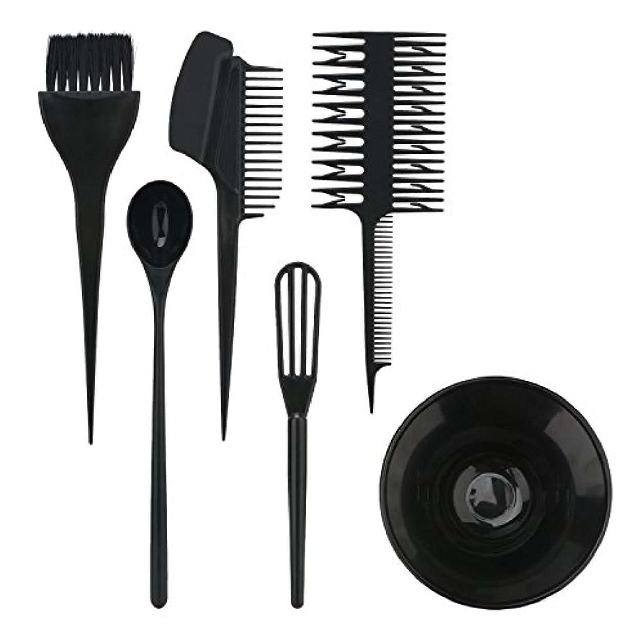 枯渇するヘクタール植生Segbeauty ヘアカラー用のセット ブラシとボウルの組み合わせ 6pcs DIY髪染め用 サロン 美髪師用 ヘアカラーの用具