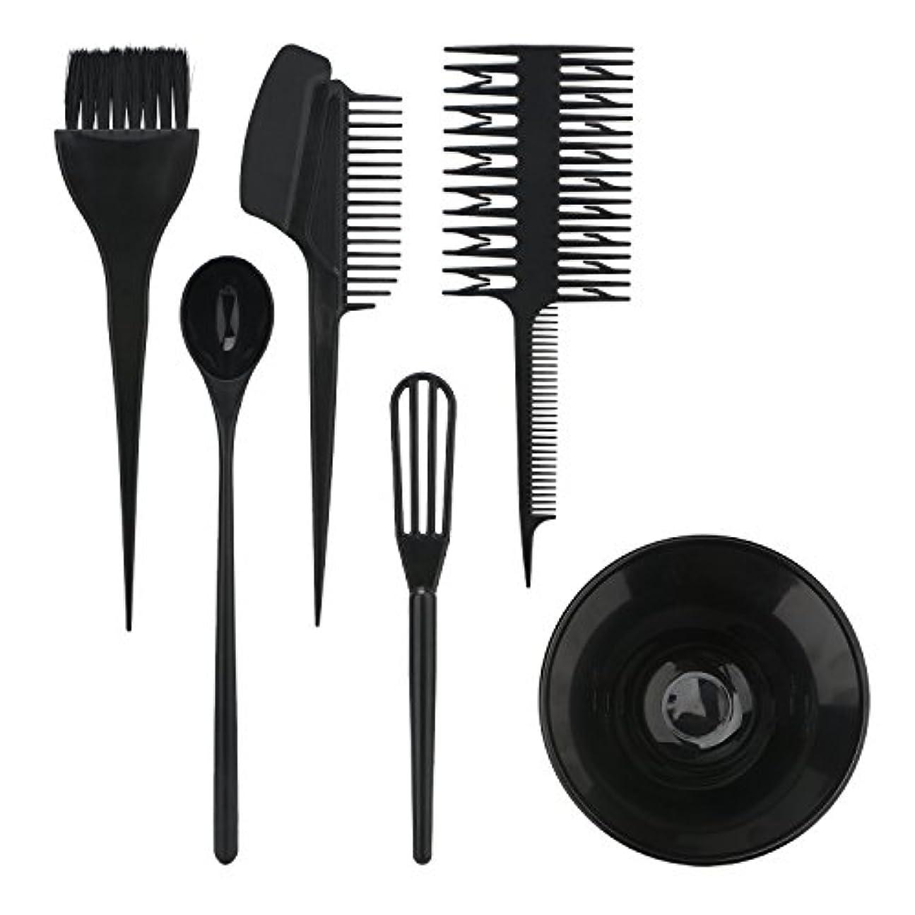 ハイジャックスタック湖Segbeauty ヘアカラー用のセット ブラシとボウルの組み合わせ 6pcs DIY髪染め用 サロン 美髪師用 ヘアカラーの用具