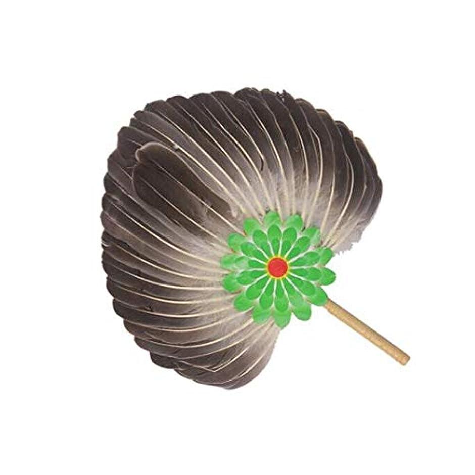 権利を与える虹冷ややかなQIANZICAI ファン、手作りグースフェザー扇子、ホームアクセサリー、ダンスの小道具を折ります。 ファン (Color : Black)