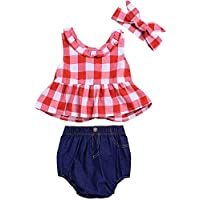 SWNONE 3Pcs/Set Toddler Girls Clothes Outfit Plaid Ruffle Bowknot Shirts Top+Jeans Shorts +Headband
