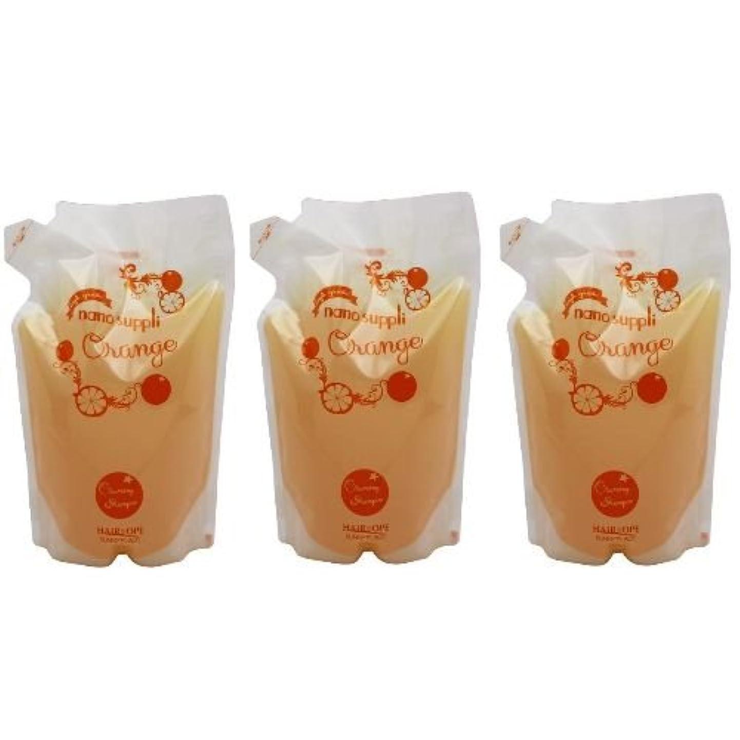 売り手物理的な【x3個セット】 サニープレイス ナノサプリ ヘアクレンジングシャンプー オレンジ 800ml (詰替用)