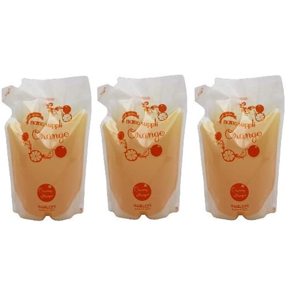 【x3個セット】 サニープレイス ナノサプリ ヘアクレンジングシャンプー オレンジ 800ml (詰替用)