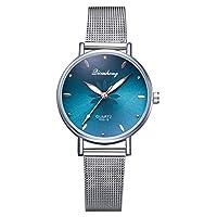 腕時計 レ 女性用時計絶妙なクォーツ時計ファッション印刷ヨーロッパとアメリカのネットファッション時計 (Color : Green-L)