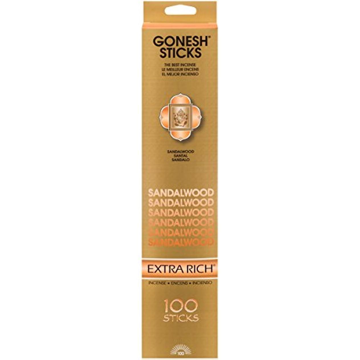 垂直制限された付添人(Single 100-Stick Pack) - Sandalwood - 100 STICK PACK - Incense by GONESH
