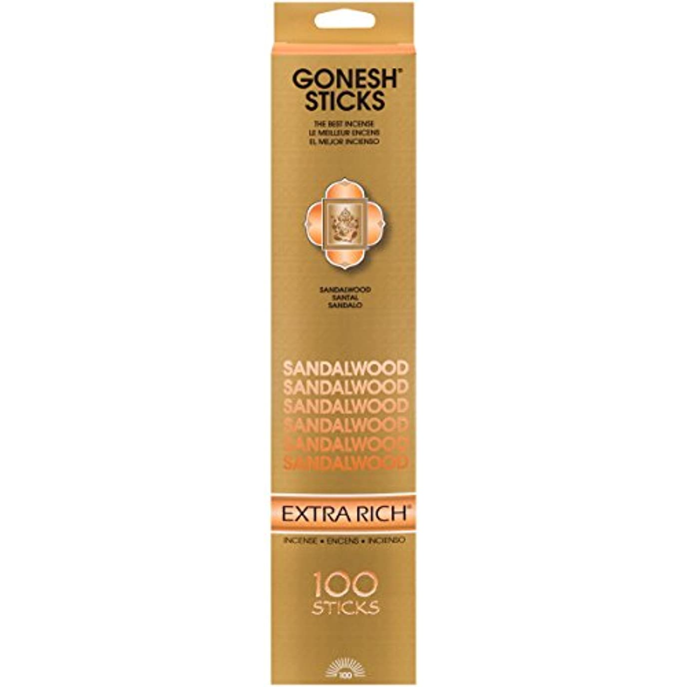 日常的に寛容数値(Single 100-Stick Pack) - Sandalwood - 100 STICK PACK - Incense by GONESH