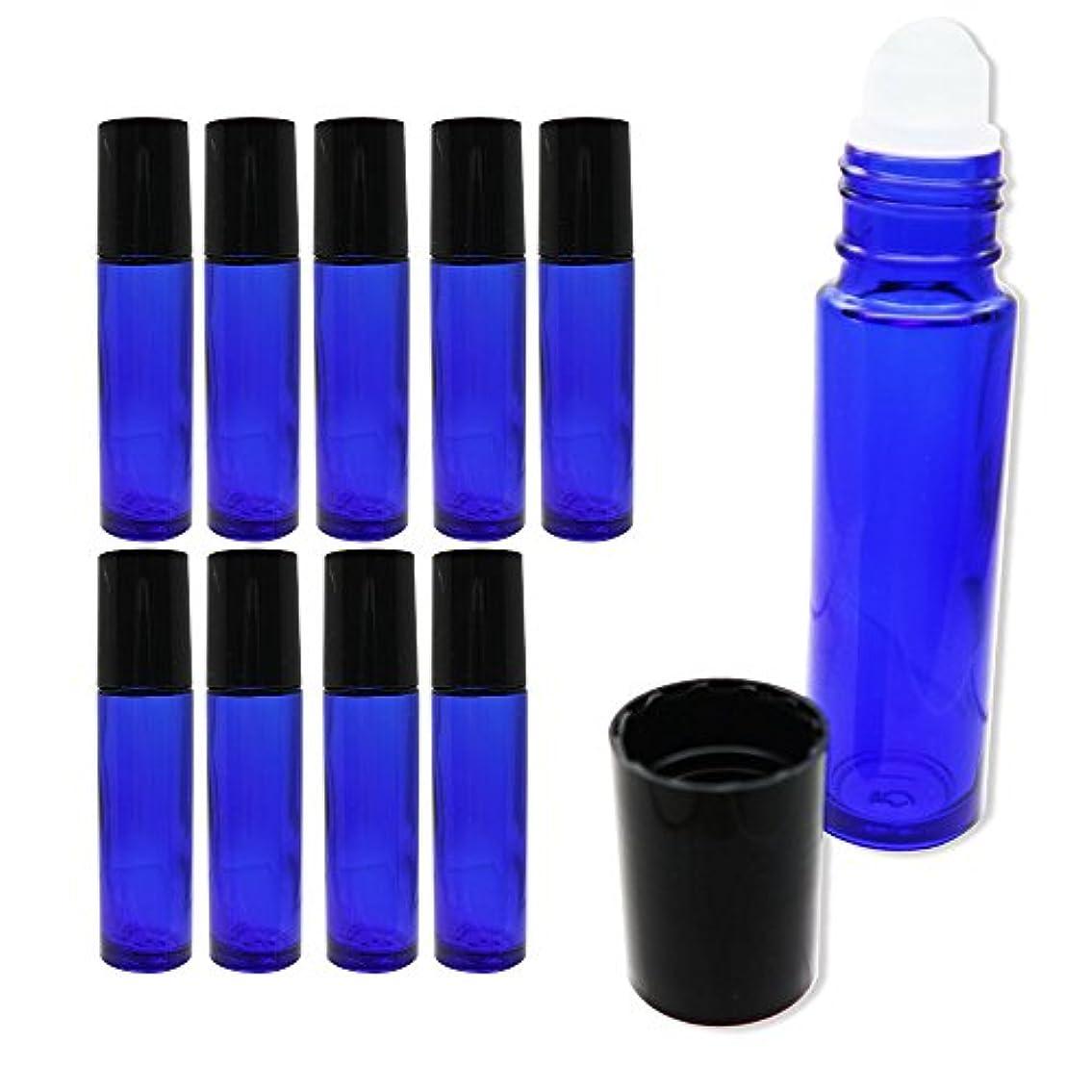 直面する困惑する不快な【yanyan0207】 ロールオン ボトル 10本 セット ガラス製 オイル ローション 香水 アロマ (ブルー)