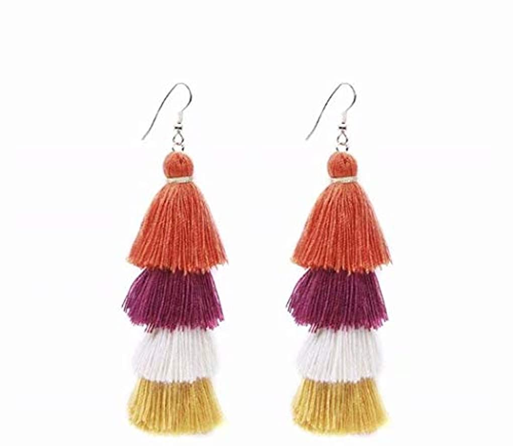 憧れ政権拳七里の香 Fan Tassel Earrings Hoop Drop Dangle Earrings Fish Hook Earring for Daily Wear, Wedding, Party
