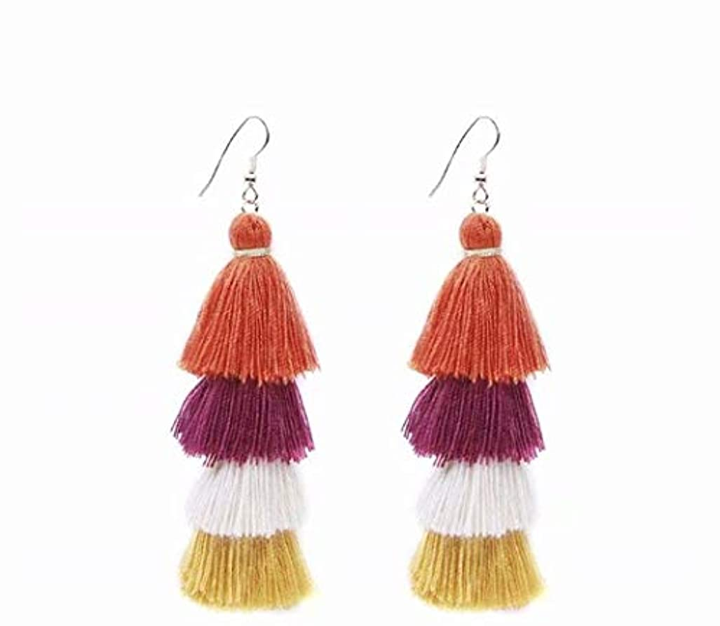 囚人マガジン自明七里の香 Fan Tassel Earrings Hoop Drop Dangle Earrings Fish Hook Earring for Daily Wear, Wedding, Party