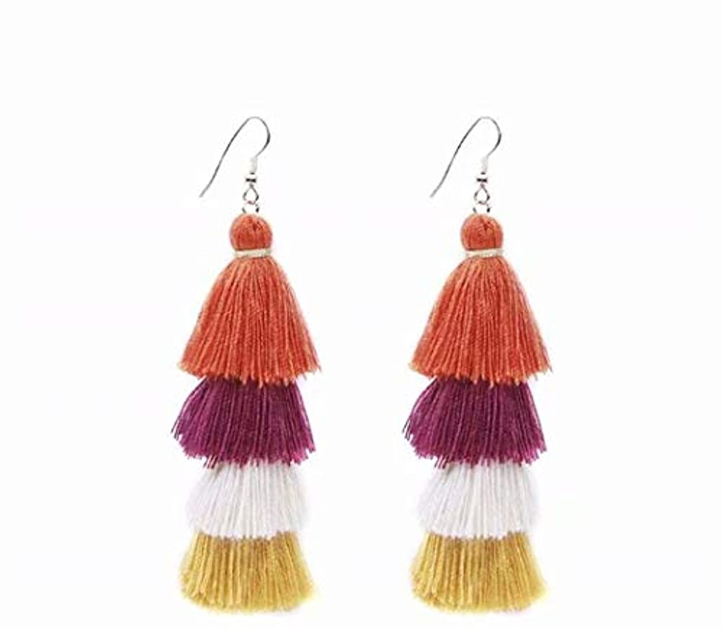 イル不変罰七里の香 Fan Tassel Earrings Hoop Drop Dangle Earrings Fish Hook Earring for Daily Wear, Wedding, Party