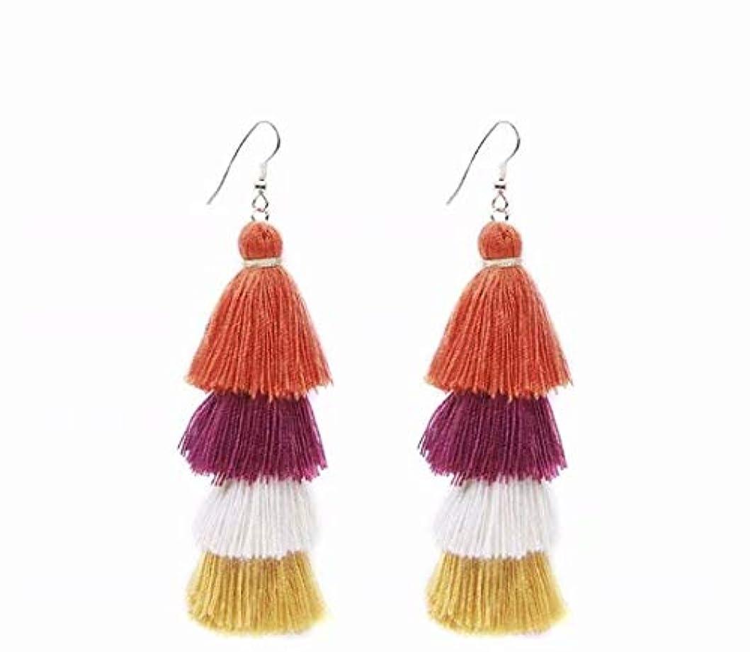 意識的服を洗う公平七里の香 Fan Tassel Earrings Hoop Drop Dangle Earrings Fish Hook Earring for Daily Wear, Wedding, Party