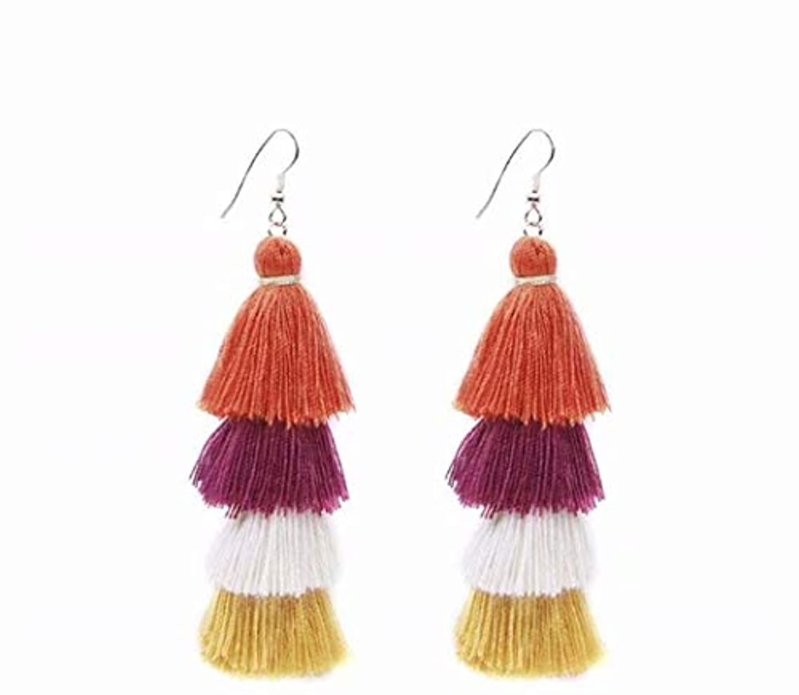 前兆植物学者保有者七里の香 Fan Tassel Earrings Hoop Drop Dangle Earrings Fish Hook Earring for Daily Wear, Wedding, Party