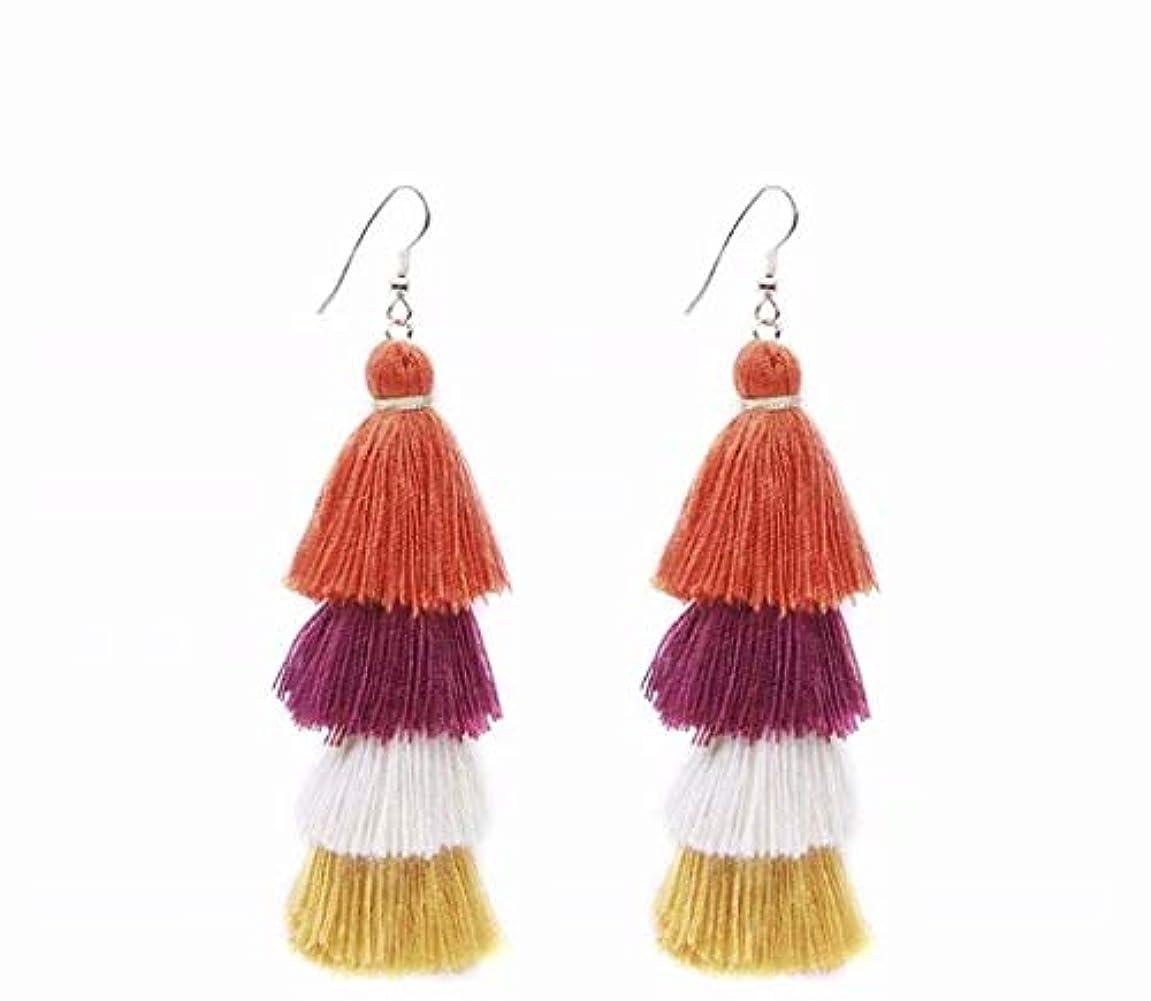 有力者結び目爆風七里の香 Fan Tassel Earrings Hoop Drop Dangle Earrings Fish Hook Earring for Daily Wear, Wedding, Party