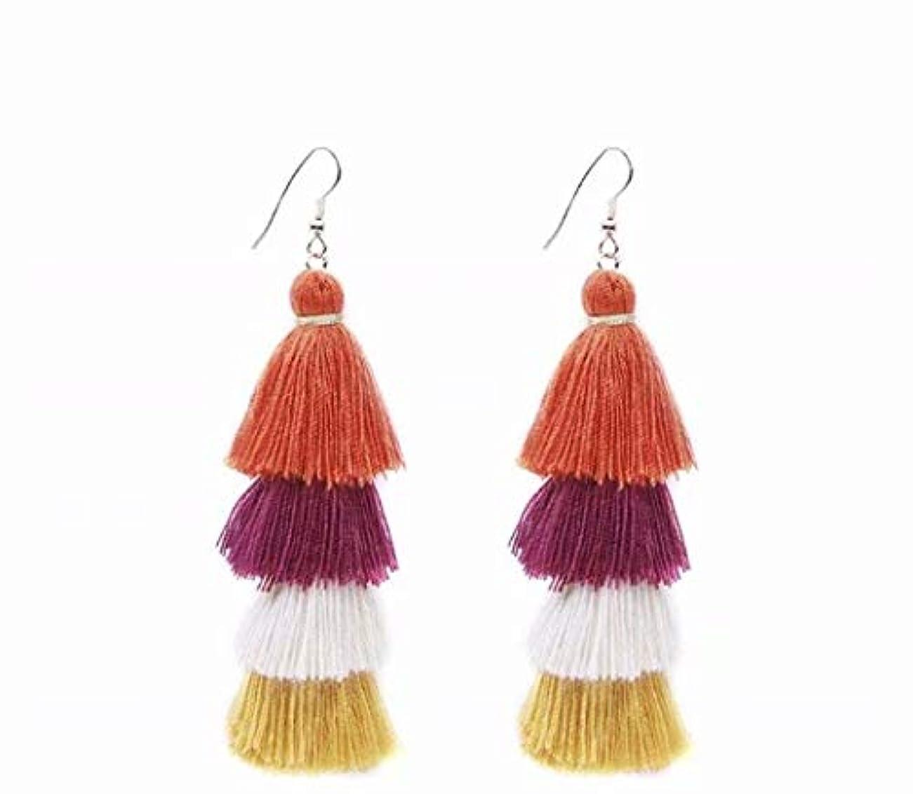 原油猛烈なレイ七里の香 Fan Tassel Earrings Hoop Drop Dangle Earrings Fish Hook Earring for Daily Wear, Wedding, Party