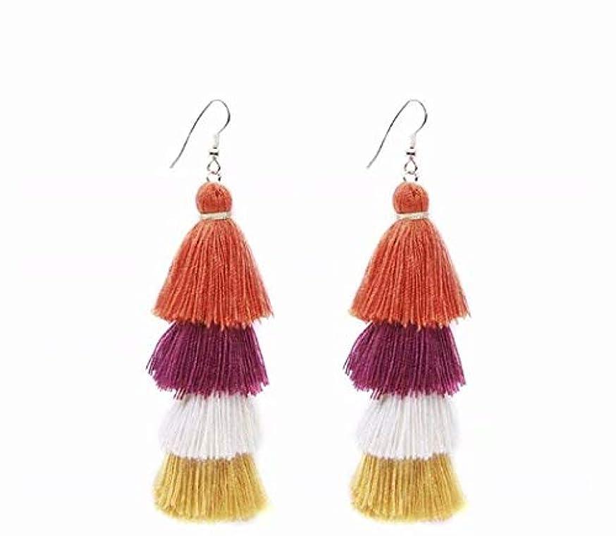 ポット動カート七里の香 Fan Tassel Earrings Hoop Drop Dangle Earrings Fish Hook Earring for Daily Wear, Wedding, Party