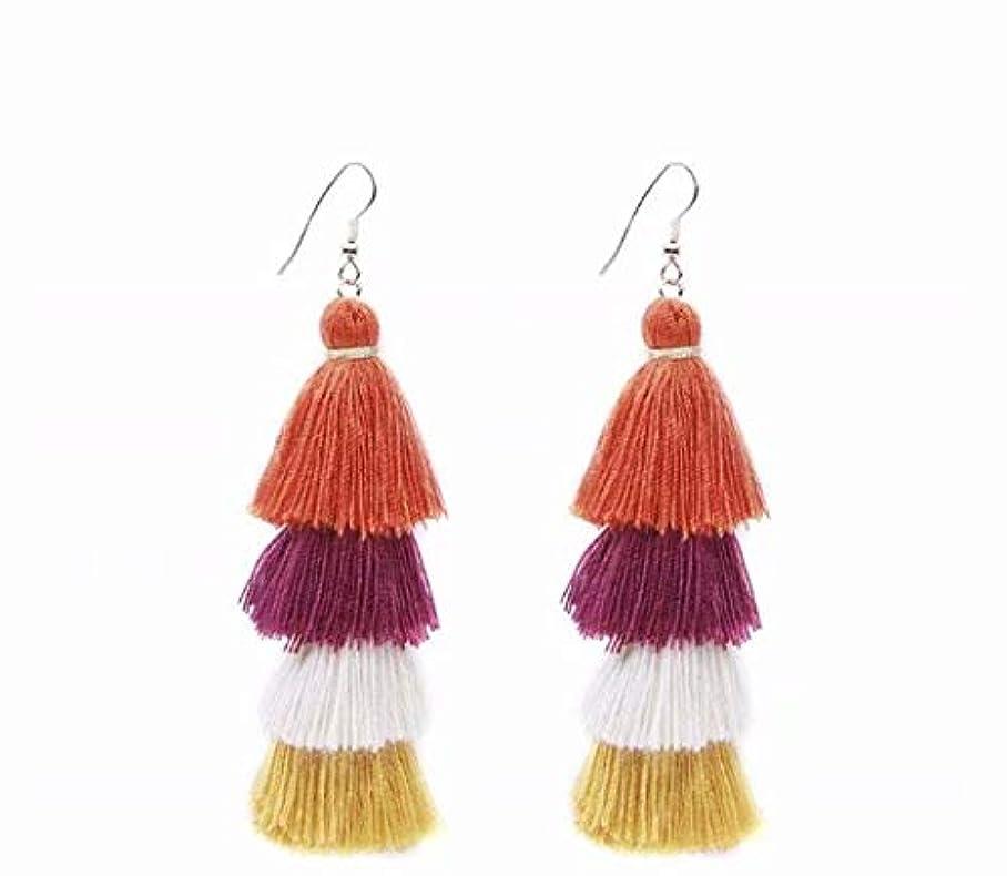 ピア弾丸ボリューム七里の香 Fan Tassel Earrings Hoop Drop Dangle Earrings Fish Hook Earring for Daily Wear, Wedding, Party