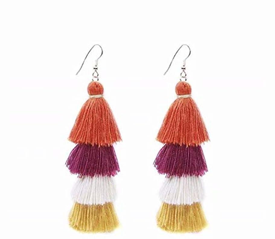 合理化スクラッチ遠近法七里の香 Fan Tassel Earrings Hoop Drop Dangle Earrings Fish Hook Earring for Daily Wear, Wedding, Party