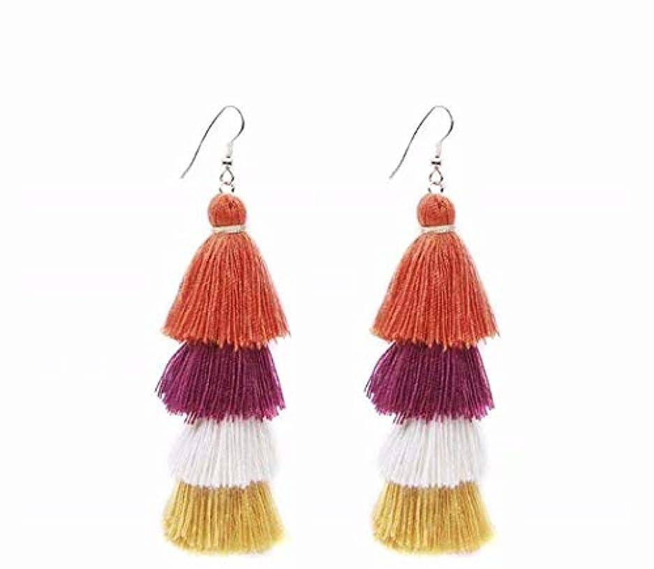 縞模様の折り目警告七里の香 Fan Tassel Earrings Hoop Drop Dangle Earrings Fish Hook Earring for Daily Wear, Wedding, Party