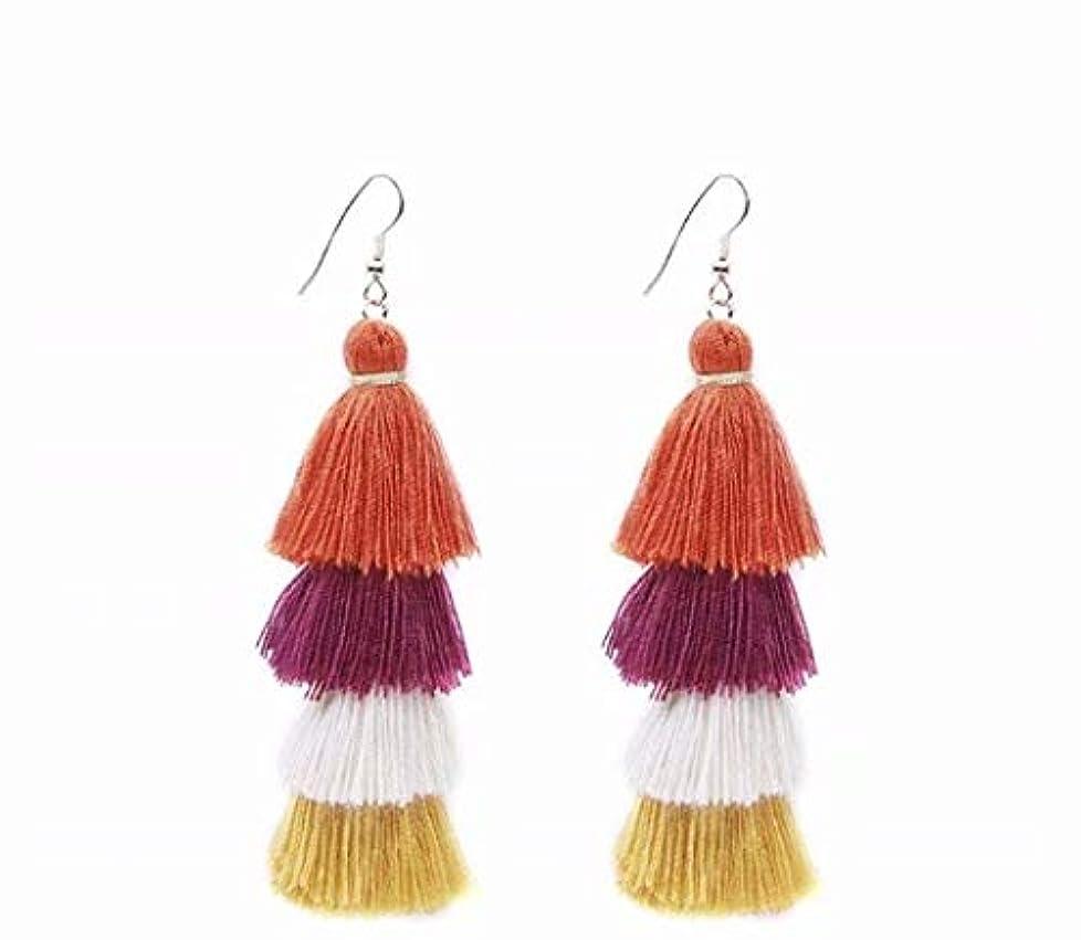 間接的打撃引用七里の香 Fan Tassel Earrings Hoop Drop Dangle Earrings Fish Hook Earring for Daily Wear, Wedding, Party