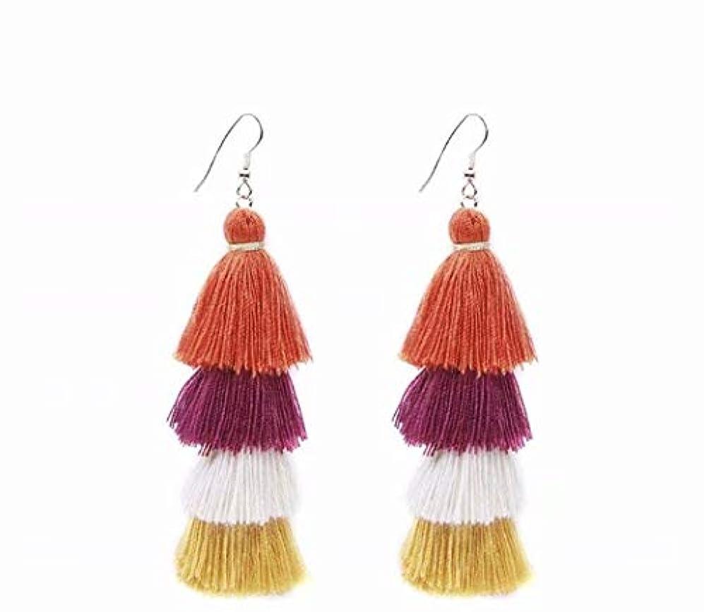 趣味ウルル腐食する七里の香 Fan Tassel Earrings Hoop Drop Dangle Earrings Fish Hook Earring for Daily Wear, Wedding, Party
