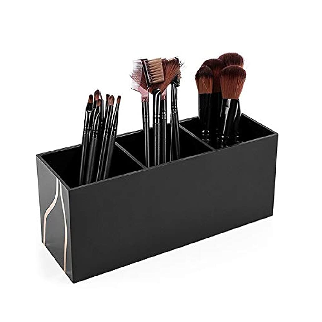 逮捕リズムそれ整理簡単 シンプルなブラシホルダーアクリル化粧オーガナイザー化粧品収納ケーススタンド用メイクアップブラシ (Color : Black, Size : 20*8.7*7cm)