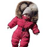 Franterd 赤ちゃん 女の子 男の子 ロンパース ダウンジャケット フード付き ジャンプスーツ 秋冬 暖かい 厚手 コート ワンジー スノースーツ 服