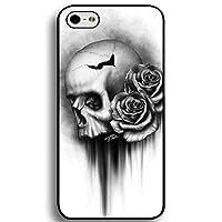 iPhone 6 ケース iPhone 6S ケース 頭蓋骨 花 黒と白 iPhone 6 iPhone 6S 対応 携帯電話ケース 耐衝撃 カバー iPhone 6/6S ケースの電話ケース