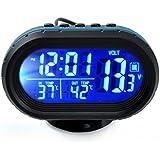 4in1多機能 車用時計 車内外気温 温度計 バッテリー 電圧計 12 24時間制表示切替 アラーム機能 5分間スヌーズ 角度調整可能なスタンド式