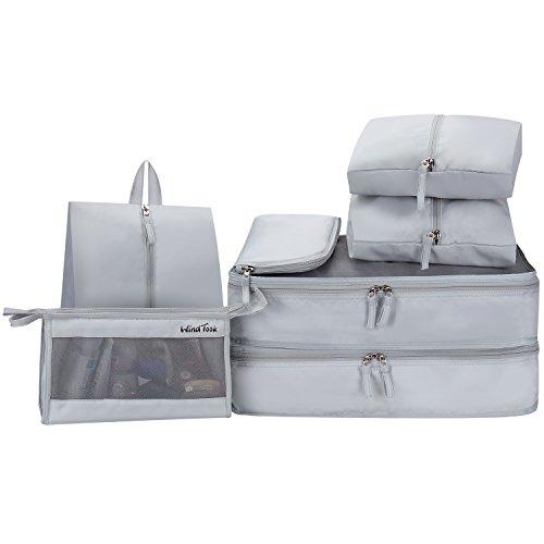 WindTookアレンジケース トラベルポーチ 7点セット 軽量 防水 大容量 旅行 出張 整理用 しっかりした生地とファスナー オーガナイザー 衣類 収納 スーツケース 整理 パッキング インナーバッグ 靴バッグ 洗面具入れ 吊り下げ PC周辺小物整理 持ち運び簡単 整理整頓 人気 荷造り簡単 グレー